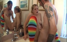 Petite Blonde Creamed In The Bathroom