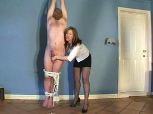 Hogtied Male Slave Homemade Handjob