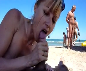 Wife Sucks & Swallows At Crowded Nude Beach