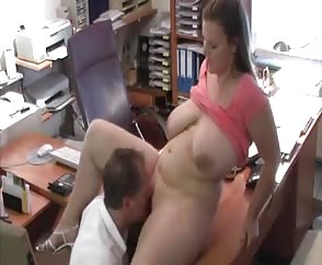Huge Natural Melons Bouncing In The Office