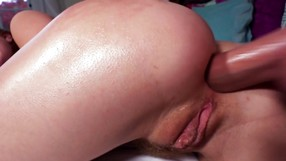 Blonde In Blue Socks Anal Fucked On A Bed