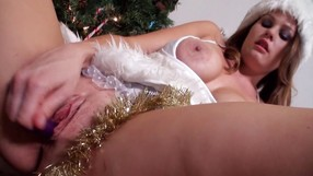 Masturbating And Licking Lollipops In Front Of A Christmas Tree