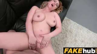 Fake Agent Fucks Busty Blonde After She Gave Him A Blowjob