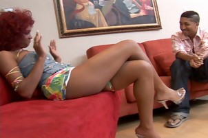 Luscious Ebony Lisa Strokes Two Rods