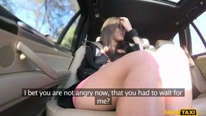 Young Nympho Flashes Her Pantyless Pussy To A Fake Taxi Driver