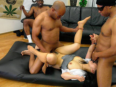 Three Black Dudes Destroy The Asian Slut's Hairy Pussy