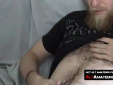 Bearded Hipster Dude Wanks His Rock Solid Cock Alone