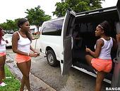 Whorish Ebony Chick And Her Slutty GF Enjoy Banging One Guy In The Back Seat