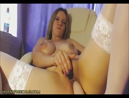 busty stockings babe masturbating on cam