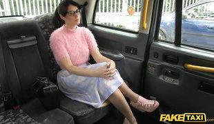 Innocent Looking Brunette Gal In Glasses Fucks In Faketaxi