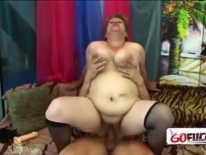 Chubby Huge Melons Babe Got Tight Pussy Rammed On Couch