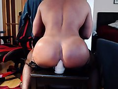 Muscle Bubble Butt Bottom In Stockings Ridin A Dildo