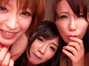 Amateur And Naughty Japanese Chicks Are Sucking His Big Snake