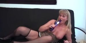 Promiscuous MILF Masturbating Solo Aided By Bulky Dildo
