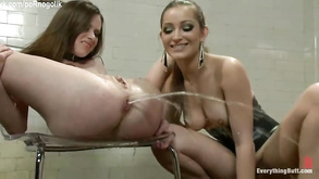 Dirty Lesbian Girl Loves Her Ass Cleaned With Enema Before Stapon Fucking
