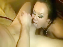 Sex Party Drenches Three Slutty Girls In Cum
