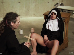 Sinful Nun Is Fucked In Her Ass By A Sneaky Priest