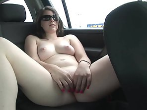 Pretty Brunette Babe Goes Nude And Finger Fucked In The Car After Shopping