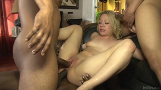 Blonde Gets Her Vagina Stretched By Man's Rock Solid Fuck Stick In Interracial Hardcore Action