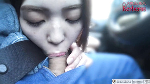 Uncensored Asian Japanese Gives POV Blowjob In Car