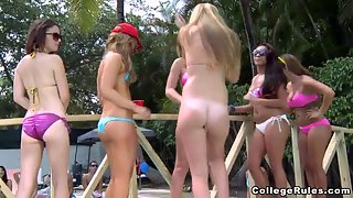Blonde And Brunette Enjoyed Sex Party By The Pool