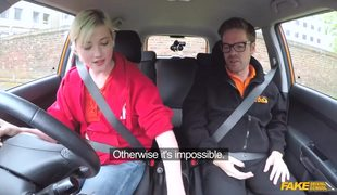 Playful Blonde Misha Mayfair Learning How To Drive