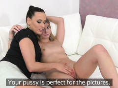 Stunning Blonde Seduced By A Beautiful Agent