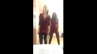 Two Hot Russian Girls Wearing The Same Dress And Nylon Stockings While Dancing On Their Cam