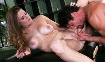 Masseuse Allison Moore Is Giving Her Client A Nice Blowjob