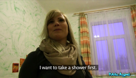 Seduced Blonde Szilvija Really Want To Gain Some Cash As Fast As Possible. Watch How She Is Pulling Out My Boner And Taking It In The Mouth.