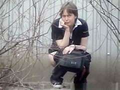 Two Girls Peeing Outdoors