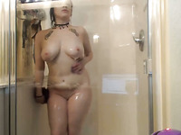Purple Haired Emo Nympho With Quite Nice Boobs Masturbated In Shower