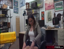 Busty Brunette Charlie Harper Pounds A Pawnmans Big Cock In His Office