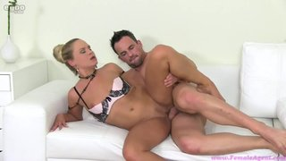 Female Agent Tries Amateur Guy's Cock In Her Pussy