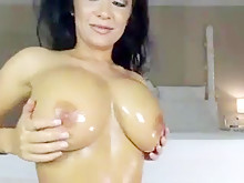 Huge Tits Chick Oil Cam Show- Watch Part1