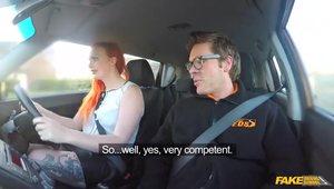 Massive Redhead Slut Fucks A Sissy Guy In A Car