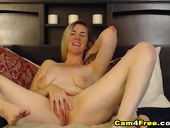 Blonde With Sexy Curves Fucks Herself