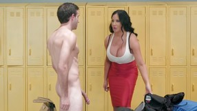 Dirty Bitch Gets A Real Deal Of Mans Meat In A Locker Room.