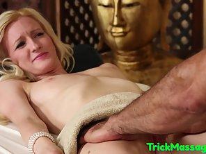 Skinny Blonde Client Enjoys Deepthroat By Masseur Throbbing Dick