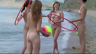 Group Of Hot Naked Girls Playing On The Beach