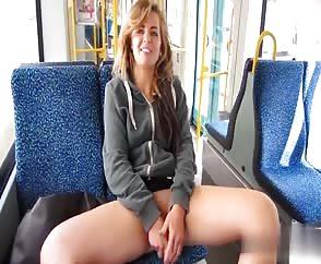 Horny Girlfriend Toy Masturbating On A Public Bus