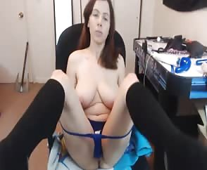 Shaved Girl With Big Natural Boobies Toying