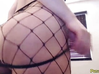 SEXY THICK GIRL W MEGA ASS In FISHNET Body Stockings