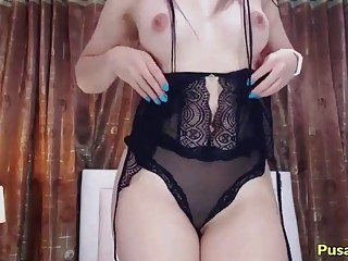 Big Ass Latina In Sexy MILF LINGERIE Toying Her Wet Pussy